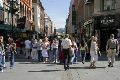 Much of Karl Johans Gate is a pedestrian mall.