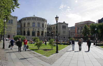 The Norwegian Parliament building.