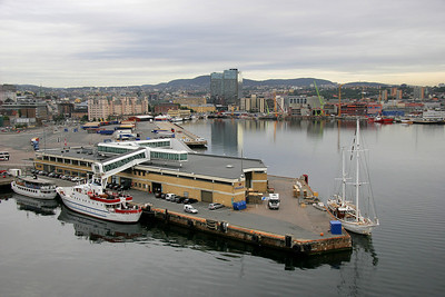 Oslo harbor and our ferry dock.