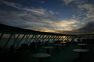Sunrise on our ferry which we have taken overnight from København, Denmark to Oslo, Norway.