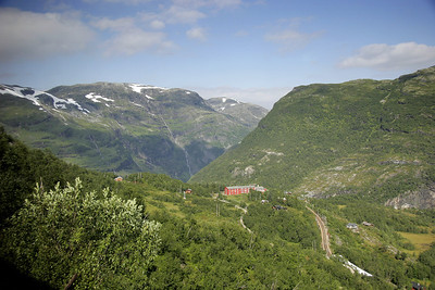 Just before we reach our first destination, Myrdal, we can see down into the canyon that we will travel in another train on our way to Flam on the Sognefjord.