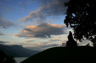 Bele, the legendary Nordic king, looks out over the Sognefjord at sunset.