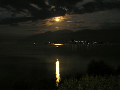 Moonlight over the Sognefjord as seen from our bedroom window.