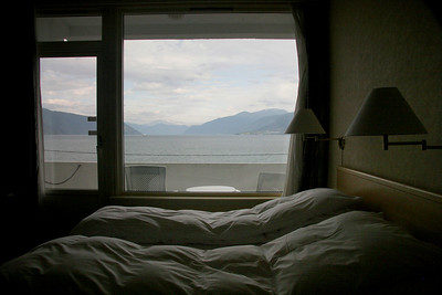 The view out our bedroom window to the east over the Sognefjord.