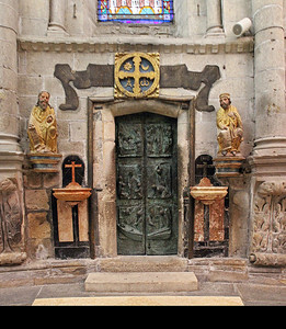 "This is the Holy Door, used by pilgrims to access the tomb during Holy Years.  According to Wikipedia: ""Whenever St James's day (25th July) falls on a Sunday, the cathedral declares a Holy or Jubilee Year. Holy Years fall every 6, 5, 6, and 11 years: the most recent one was 2010. The next Holy Years will be 2021, 2027 and 2032."""