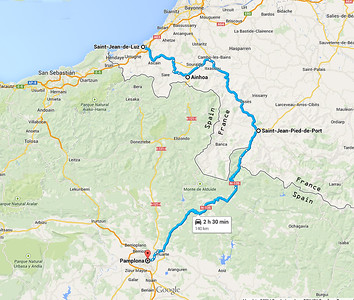 We start the first day in Saint Jean-de-Luz on the French Atlantic coast, driving to Saint Jean-Pied-de-Port.  There we pick up the route of El Camino de Santiago where it proceeds over the Pyrenees into Spain.