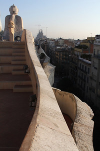 Casa Milà roof, with the Barcelona Cathedral in the distance.