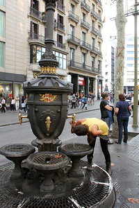 Las Ramblas : The Fountain of Canaletes ... it is said that if you drink from this fountain you will some day return to Barcelona.