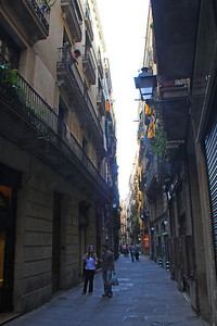 "A typically narrow street in the Barri Gotic, Barcelona's ""Old Town""."