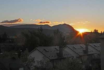 Sunrise from our hotel room in Jaca on the morning of our 6 hour drive to the west to the town of Potes near the Picos de Europa.
