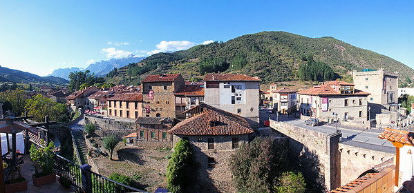 A 7-image panorama of the view over Potes from our hotel room window.