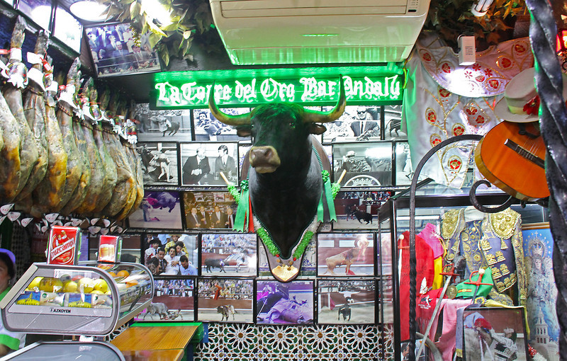 """""""La Torre del Oro Bar Andalú"""" is as close as we would come to an actual bull fight."""