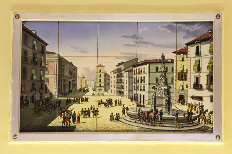 This tile painting in a bakery shop on the Puerta del Sol shows how the plaza looked in the 18th century.