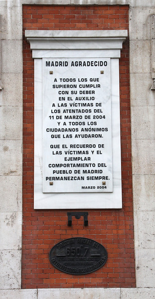 This plaque on the county governor's office on Puerta del Sol celebrates the citizens who helped after the terrorist bombings of March 11, 2004.