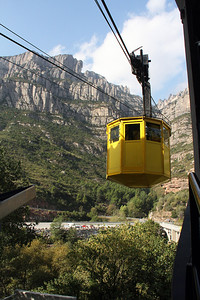 Our gondola car arrives to pick us up down at the train station.