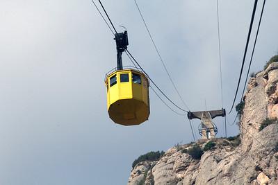 The downward moving gondola.