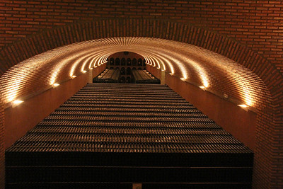 The view down the central alley of Campillo's cellar.  That's 400,000 bottles of Campillo's Crianza wine, about equal to their annual production from all their wines.