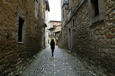 Walking the streets of Santillana del Mar.