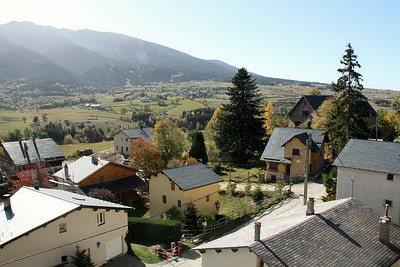 A high valley with a village, French Pyrenees.