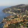 A view from a mountain looking north of Villefranche-sur-Mer. Villefranche is located about 6 km (4 miles) east of the city of Nice, separated by Mont Boron, Mont Alban and Mont Vinaigrier, and 10 km (6 miles) south west of Monaco.