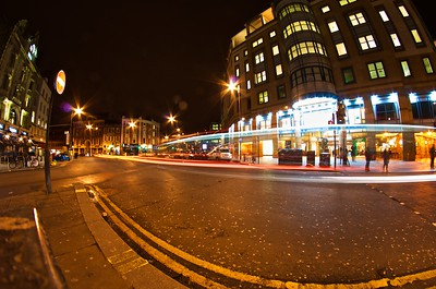 Light trails at the Hammersmith Underground station
