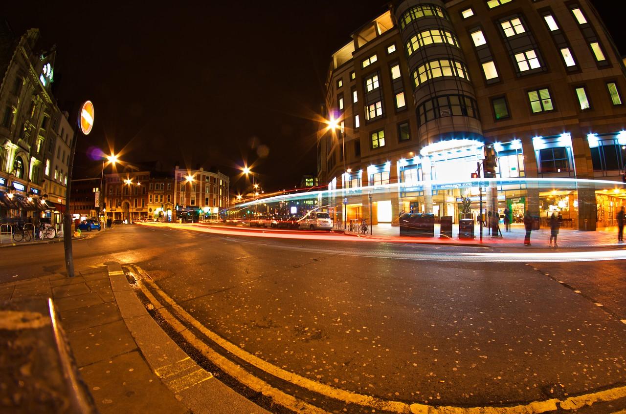 Light trails at the Hammersmith Underground station
