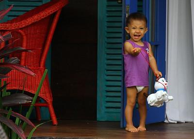 Adorable little girl at the neighboring villa