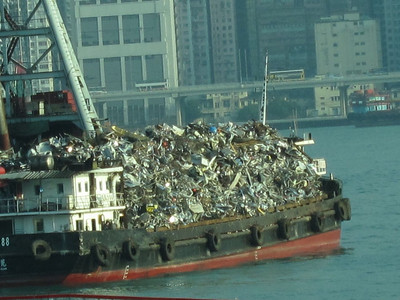 A metal salvage boat in HK harbor