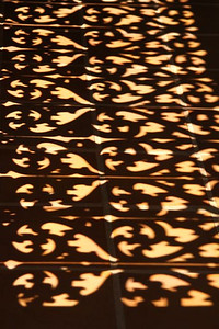 This is the shadow cast by the teak carved wall outside our room