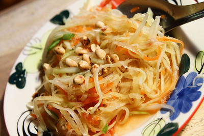 My Papaya salad.  Made entirely in a mortal and pestle and INCREDIBLE and HOT