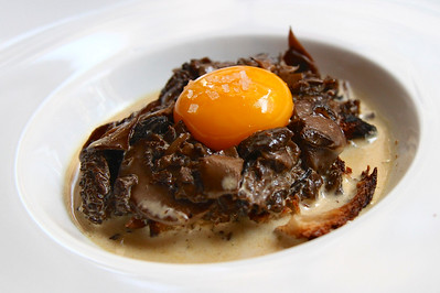 May 17  , Paris Dinner tonight at Mamoui OMG...Morel Mushrooms in a velvety cream sauce over baguette slice