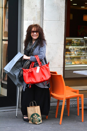 SHOPPING IN PARIS.  I'm tickled orange I got the handbag!! May 15 2013