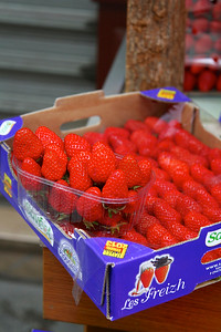 PARIS, May 14, 2013 Beautiful strawberries in the markets on the way to breakfast