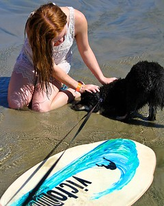 Onni playbowing to his new mermaid friend Oregon Coast August 2012