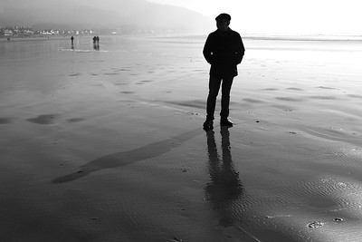 EK TRIO....SILHOUETTE, SHADOW AND REFLECTION A stunning day at Cannon Beach Oregon in the 50's  with Ek, Joe , Steve and myself