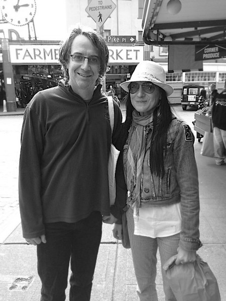 Stone Gossard from Pearl Jam...Liz lives for Pearl Jam!! Omg it was at Pike Place market !!!!! Liz was so cool and so quick to ask for a photo. I grabbed her iPhone and prayed I wouldn't screw up the photo. I didn't know who it was but KNEW it was an important shot !!! So thrilled for Liz Of all people.... she deserved this random Act of PJ!!!