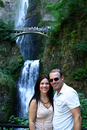 Paul and Deb at Multnomah Falls in the Columbia River Gorge National Scenic area