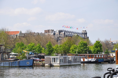 Looking back at the Amrath hotel (with flags).  Only a room on a houseboat would have been closer.