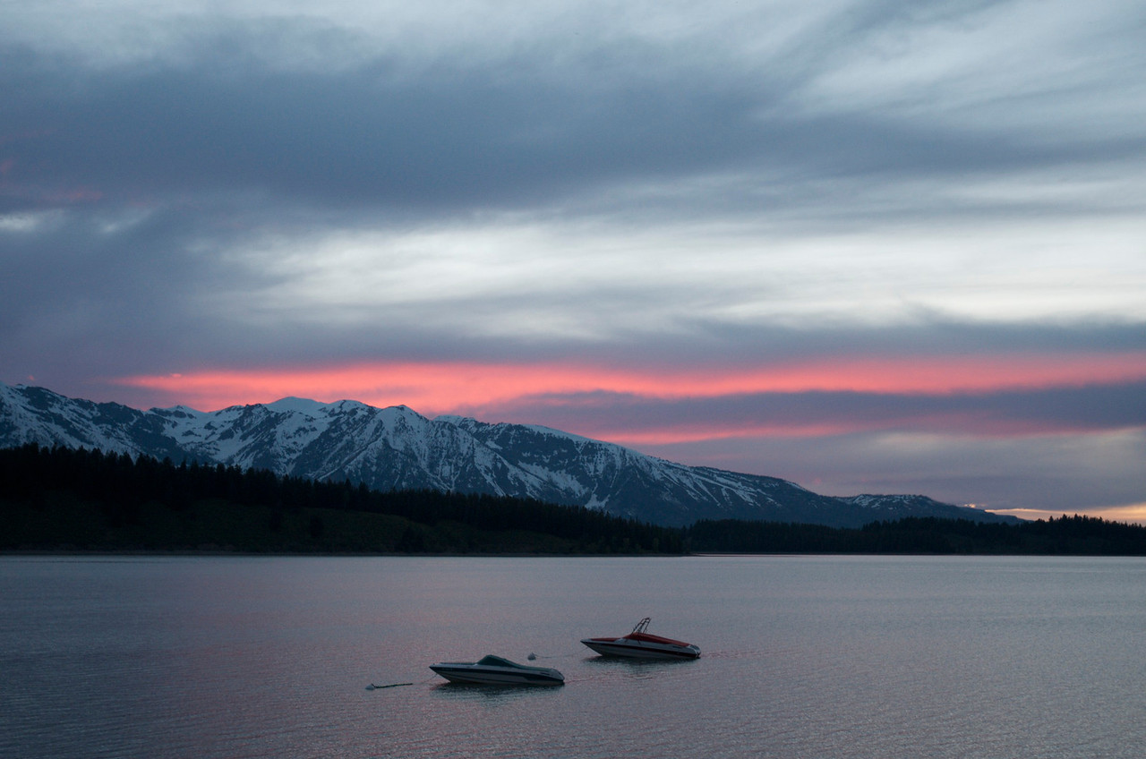 Sunset over Jackson Lake in Grand Tetons National Park.  Taken at Signal Mountain Lodge where we stayed.