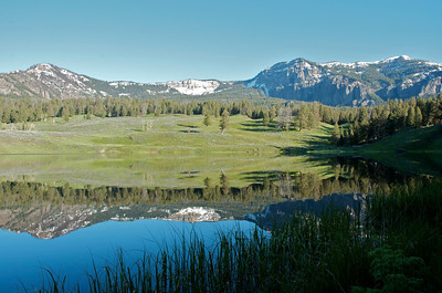 """Trout Lake in Lamar Valley, Yellowstone National Park.  My best """"reflection shot"""" of the trip.  I was the only one here...pretty cool and a bit scary at the same time."""
