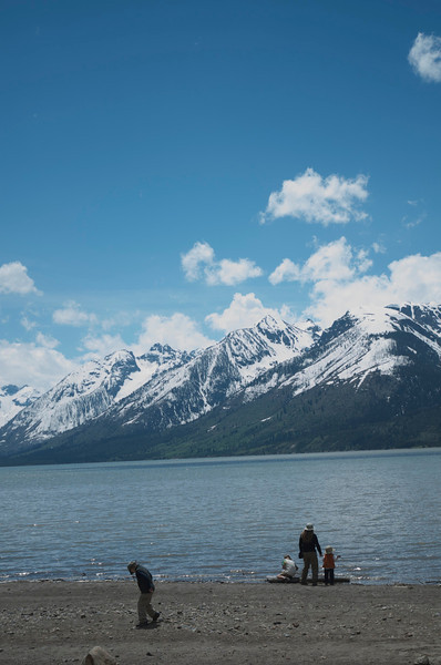 Throwing rocks in the water.  Grand Tetons National Park.