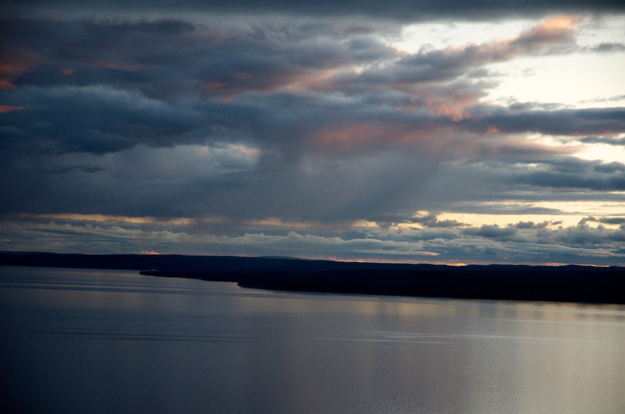 Sunset over Yellowstone Lake as seen from Lake Butte.