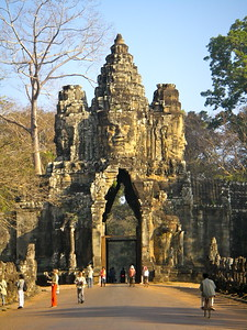 Gateway over the road into Ankor Wat temples Siem Reap Cambodia.