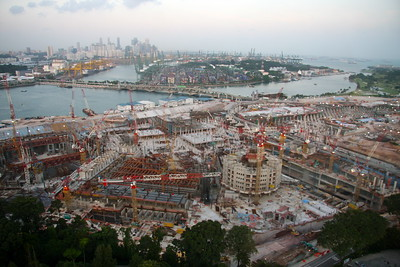 Insane amount of development along Sentosa island  just off of Singapore.  Downtown in the background