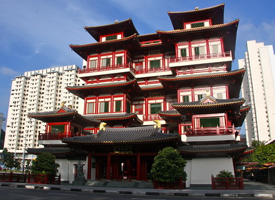 the Buddha Tooth Relic Temple in Chinatown Singapore.  Amazing newly built temple