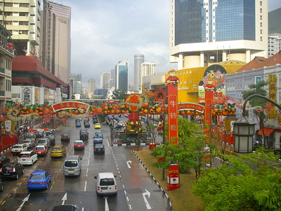 Chinatown singapore after a bit of warm afternoon rain