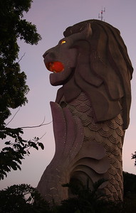 The Merlion on Sentosa Island.  The national icon of Singapore