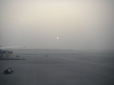 Sun setting at the Incheon Airport in Seoul, South Korea