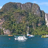 Approaching Ko Phi Phi Islands in Thailand on the ferry from Krabi