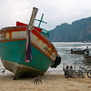 Boats at low tide on Ko Phi Phi Islands in Southern Thailand